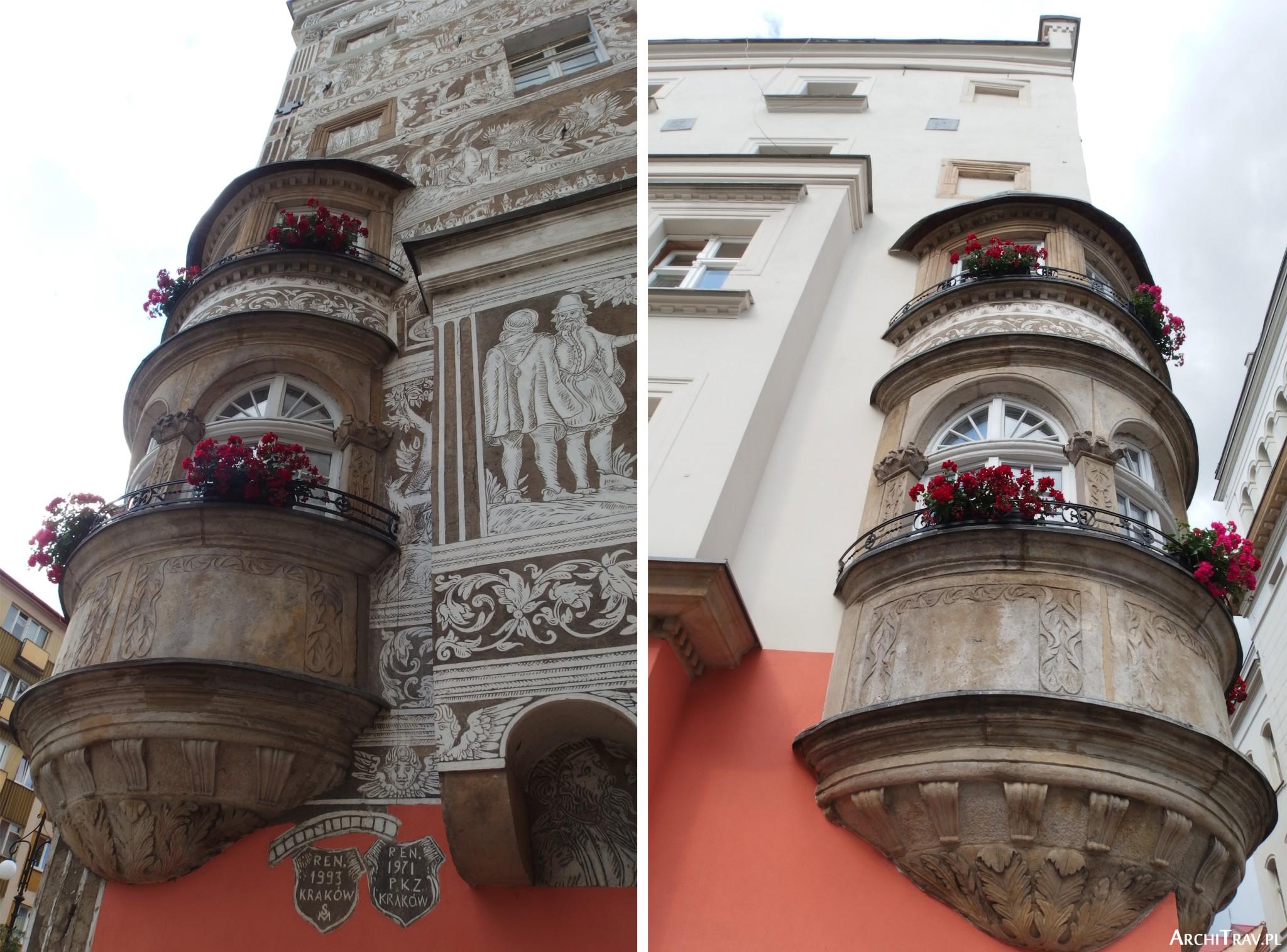 dwa zdjęcia ukazujące detal wykusza cylindrycznego na domu
