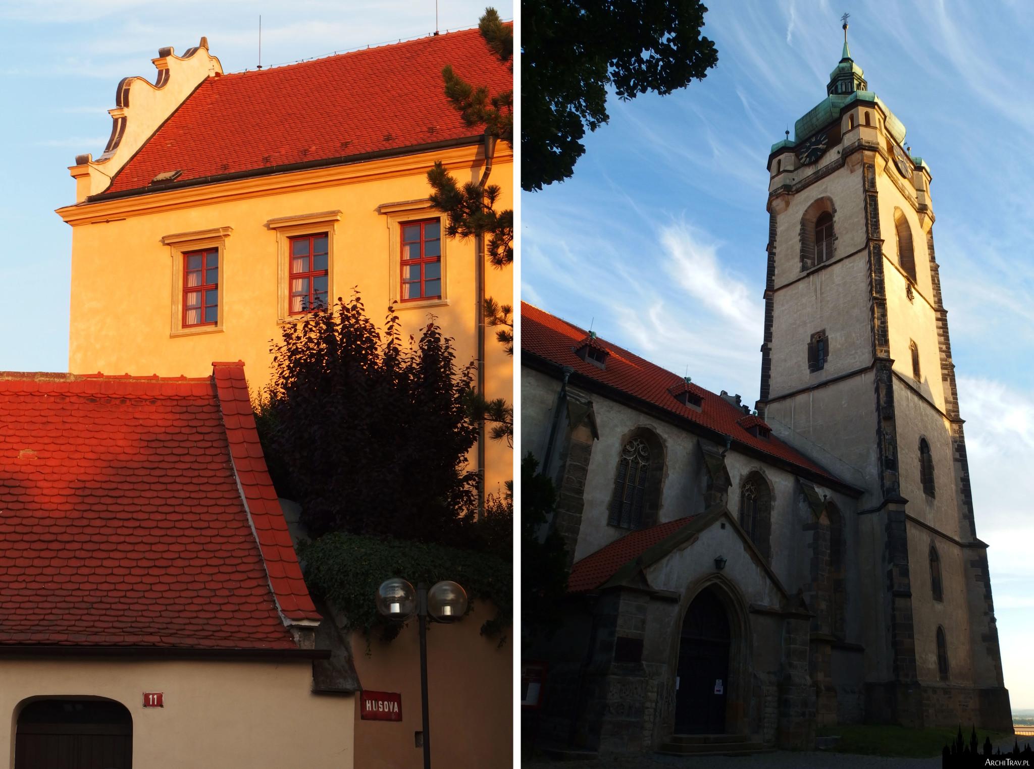 dwa zdjęcia - jedno zbliżenie na część zamku, drugie przedstawia kościół z wysoką wieżą