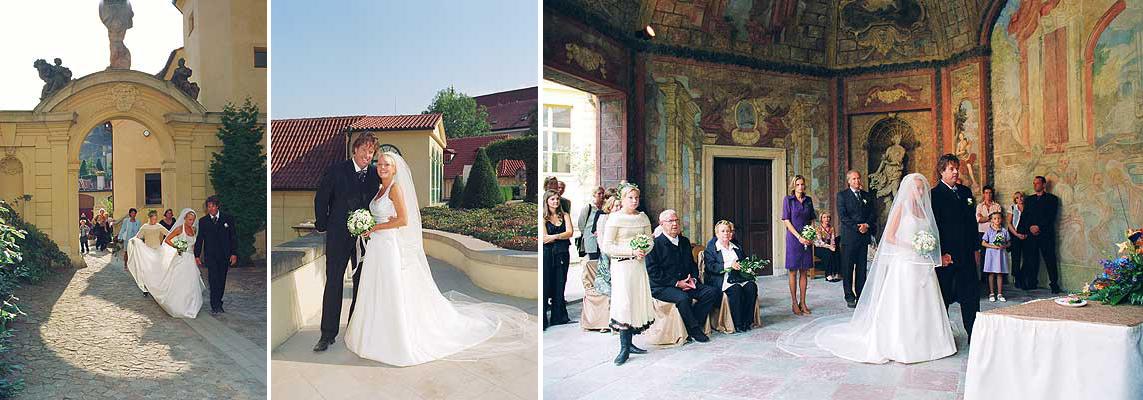 trzy ujęcia przedstawiające ślub w Ogrodzie Vrtbowskim w Pradze