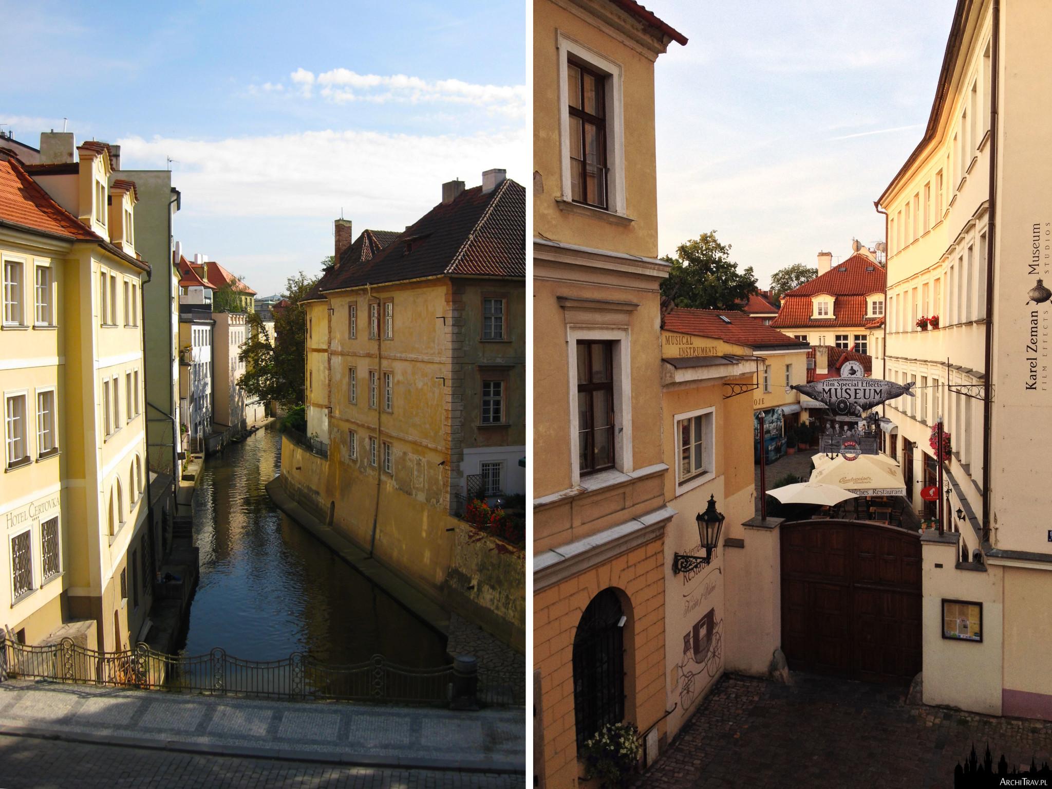dwa zdjęcia: po lewej widok na Certovkę (kanał oddzielający Kampę od stałego lądu), po prawej widok na Kampę