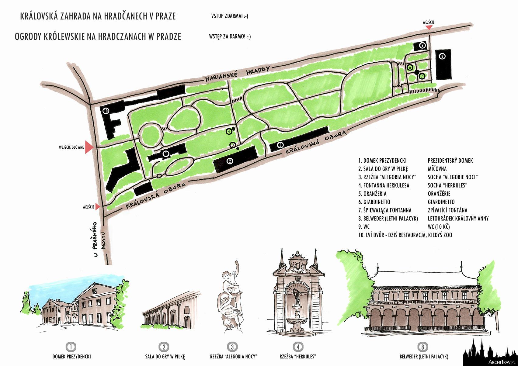 rysunek odręczny. na górze plan Ogrodów Królewskich w Pradze, na dole małe rysunki poszczególnych obiektów znajdujących się w Ogrodach, dodatkowo zaznaczone obiekty na mapce i wypisane po prawej stronie