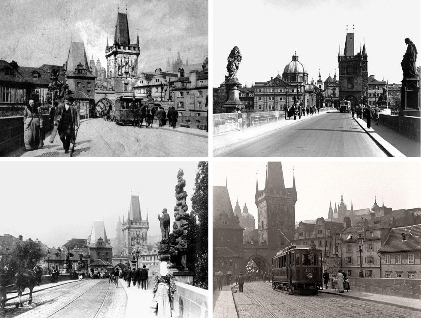 4 czarno białe zdjęcia ukazujące Most Karola na przełomie XIX i XX w. - przez Most Karola przejeżdżały: tramwaj konny, autobus, tramwaj