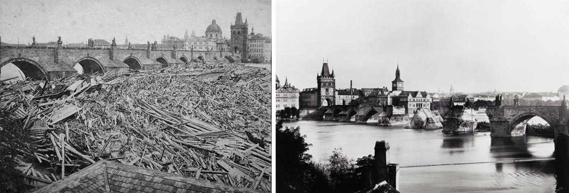 dwa zdjęcia, oba pokazują Wełtawę i Most Karola po powodziach