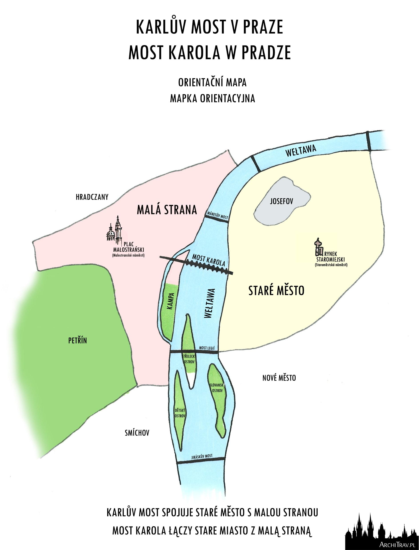 orientacyjna mapka rysowana odręcznie ukazująca położenie Mostu Karola w Pradze
