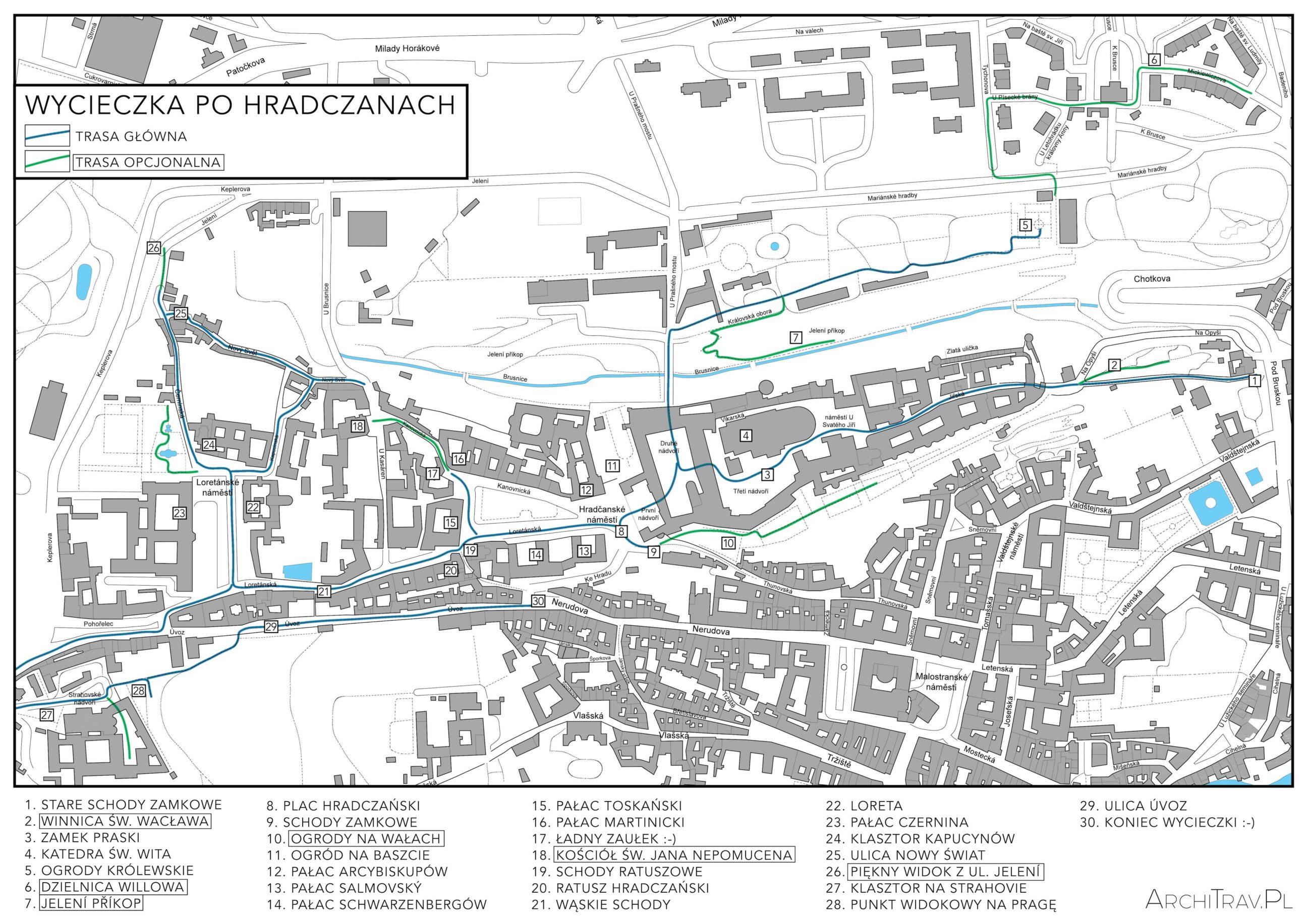 Hradczany - mapa ukazująca trasę wycieczki po praskiej dzielnicy