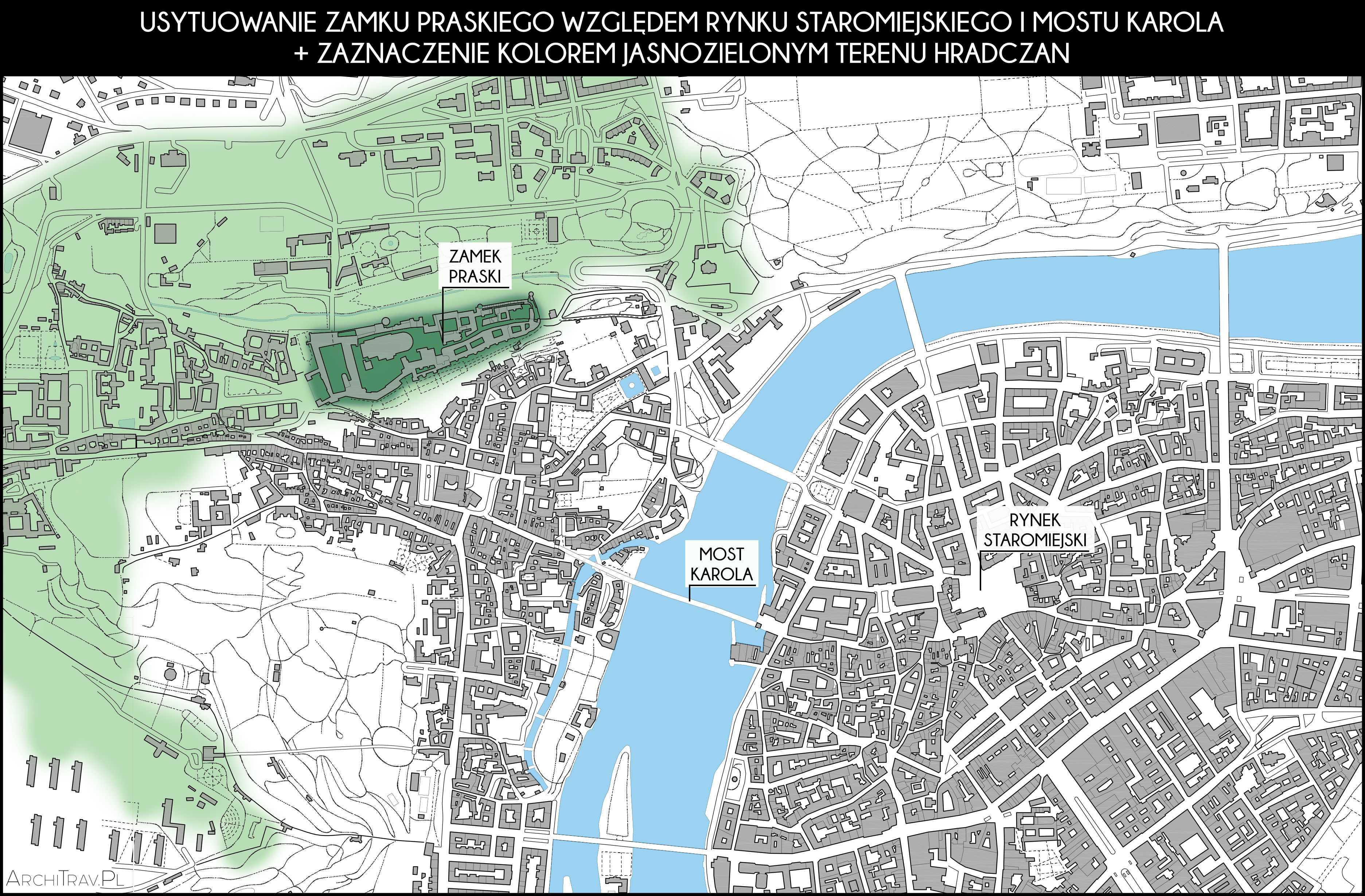 Mapa Pragi z ukazaniem obszaru Hradczan i usytuowaniem Zamku Praskiego względem Mostu Karola i Rynku Staromiejskiego.