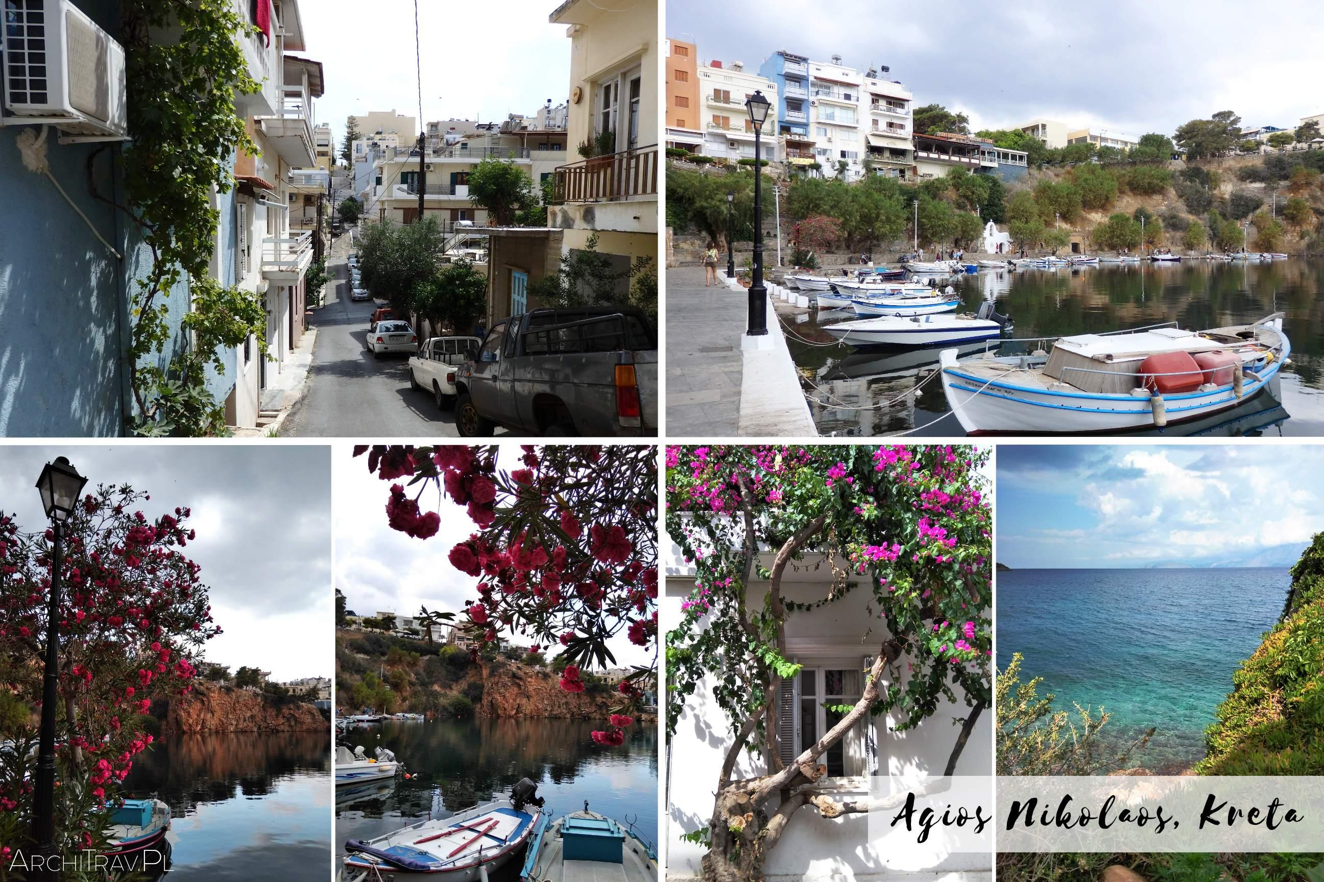 zdjecie zlozone z czterech mniejszych - Agios Nikolaos Kreta jezioro