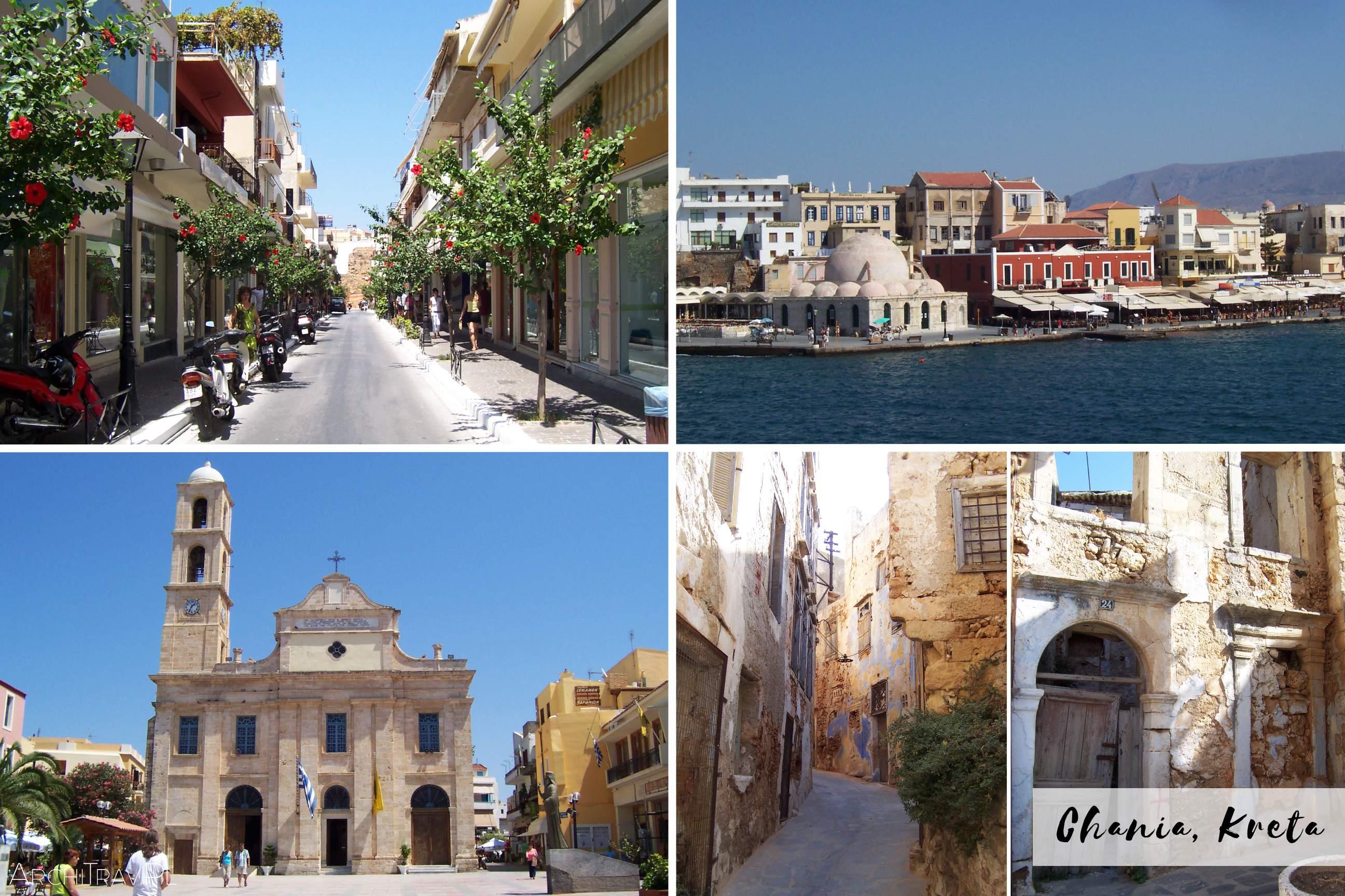 zdjecie zlozone z czterech mniejszych - Chania Kreta - port, kosciol