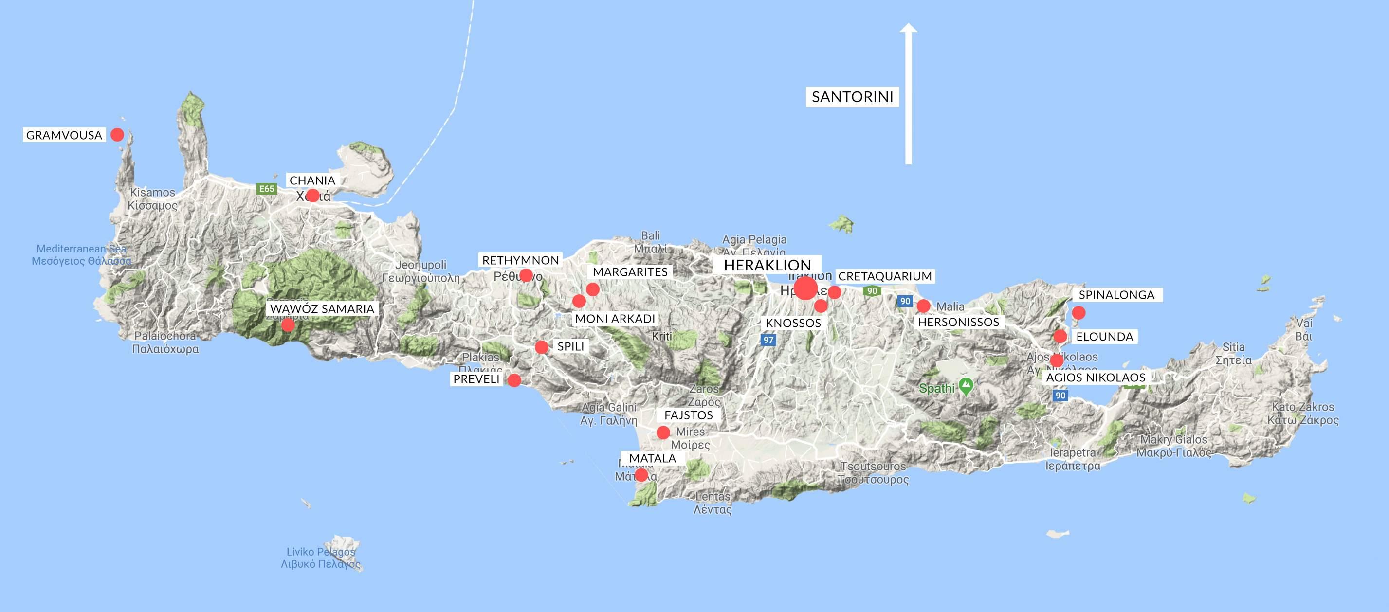 pogladowa mapka Krety - jakie miejsca odwiedzilam