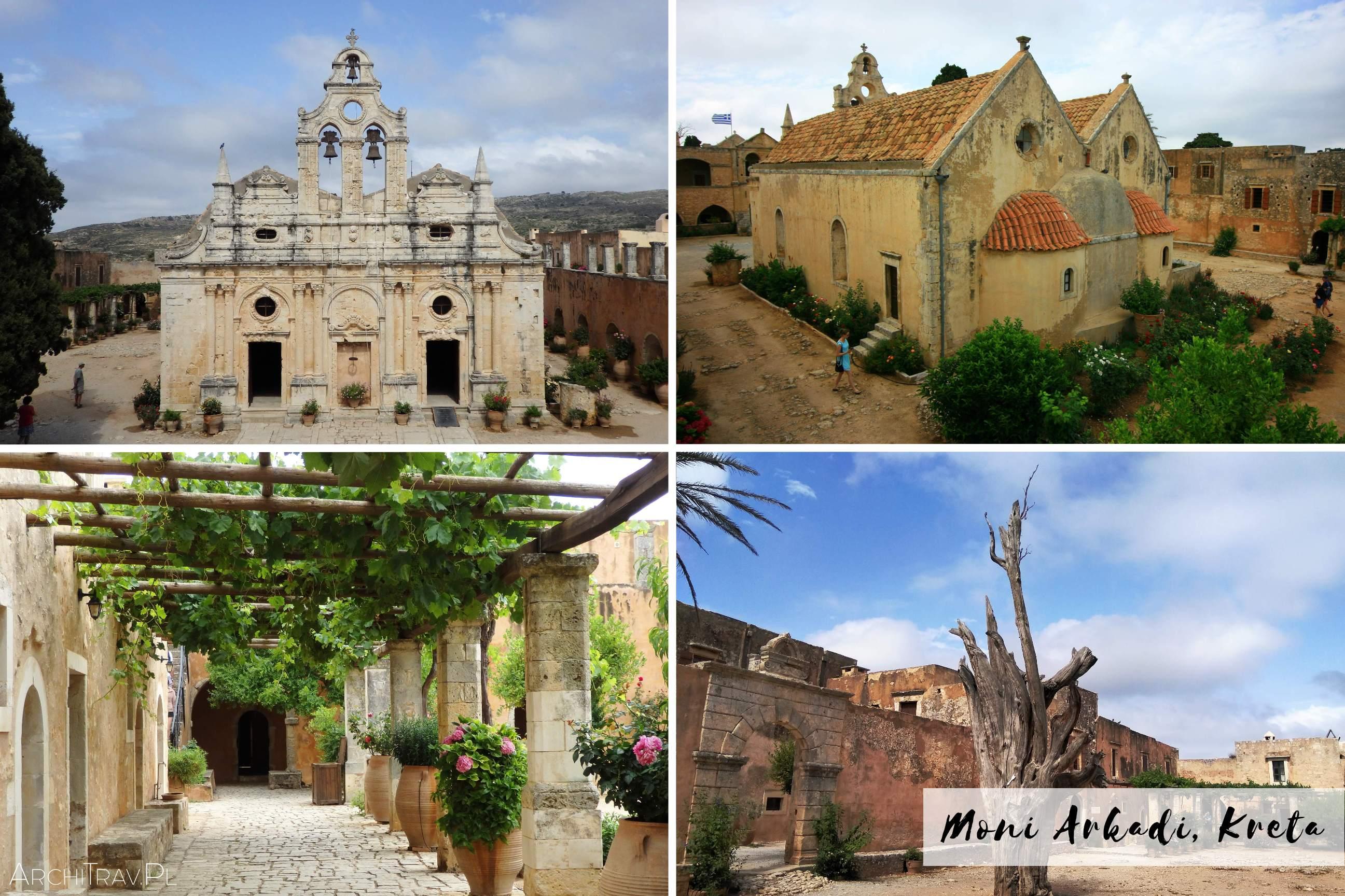zdjecie zlozone z czterech mniejszych - Moni Arkadi Kreta - kosciol, kasztor, drzewo